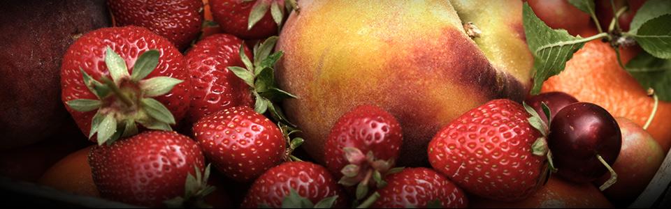 Imagen a color que muestra una mezcla de frutas tales como fresas, guindas, melocotón y naranja
