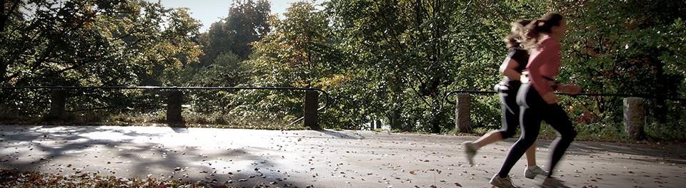 Imagen en color de dos personas haciendo deporte en un parque con árboles
