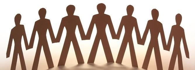 Imagen en color de figuras de personas cogidas de la mano