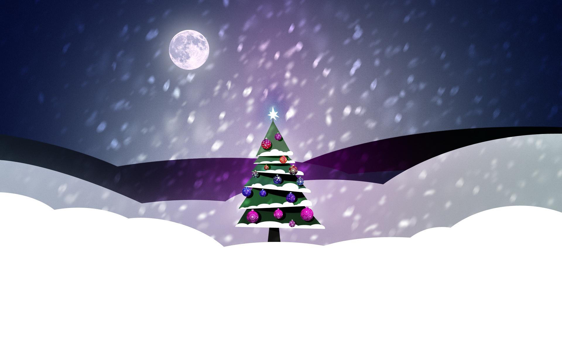 Imagen de un árbol de Navidad en un paraje nevado a la luz de la luna