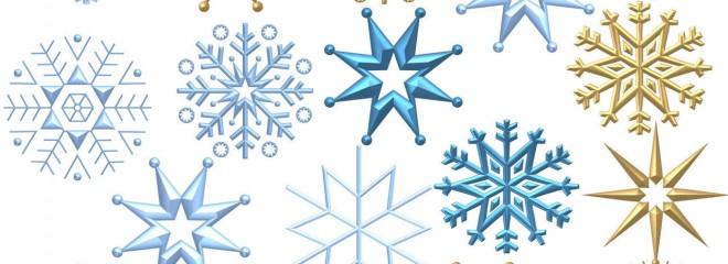 Imagen en colores azulados y dorados de la estructura de los copos de nieves