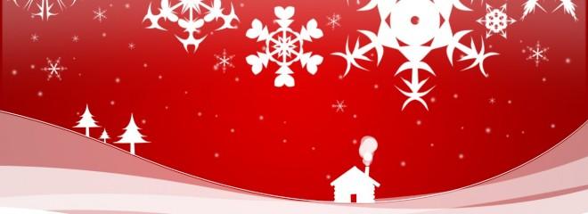 Imagen de una casa en un campo nevado con cielo rojo y copos de nieve blancos