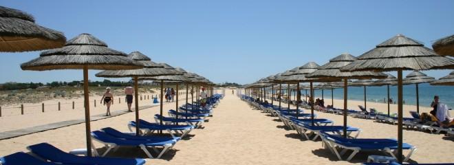 Imagen de sombrillas en fila en un día de sol en una playa de arena blanca