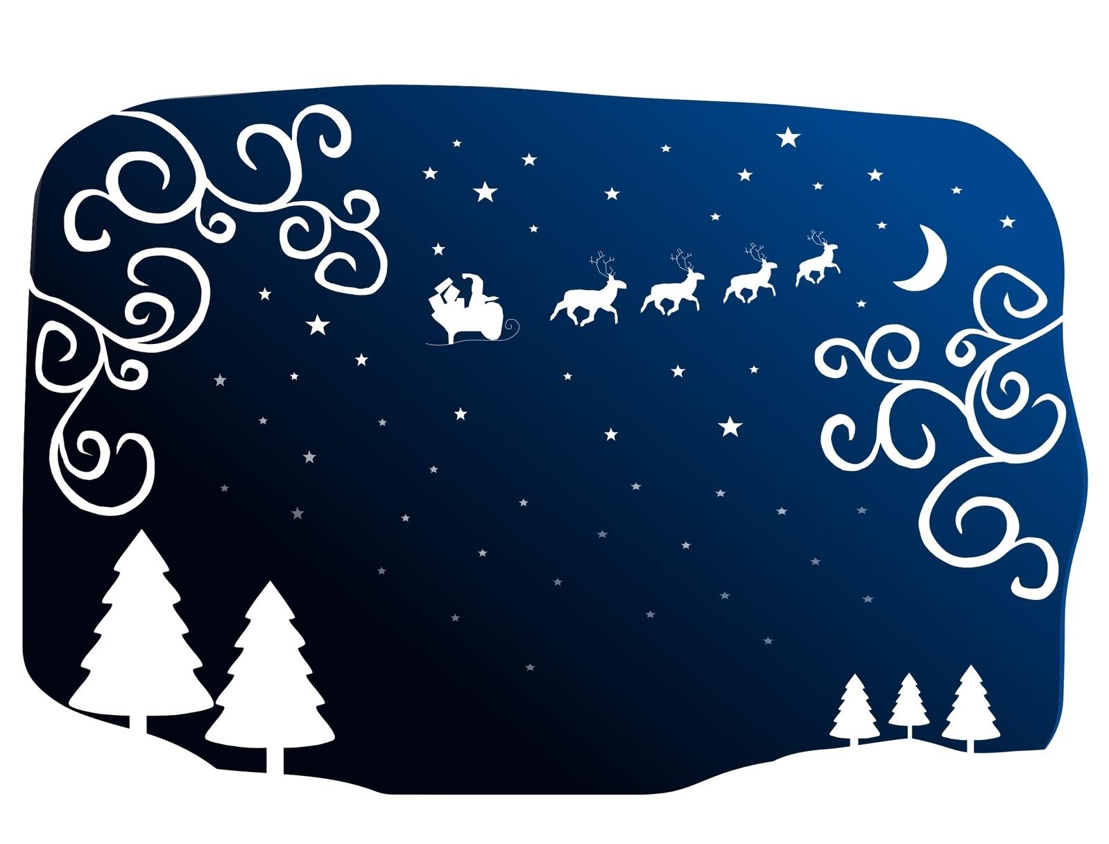 Imagen esquematica de abetos nevados y papa noel con renos